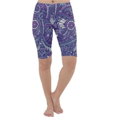 Purple Hippie Flowers Pattern, Zz0102, Cropped Leggings  by Zandiepants