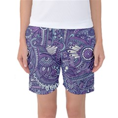 Purple Hippie Flowers Pattern, Zz0102, Women s Basketball Shorts by Zandiepants
