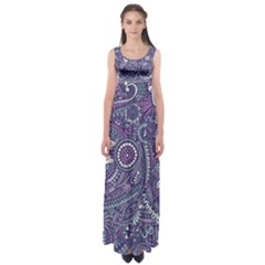 Purple Hippie Flowers Pattern, Zz0102, Empire Waist Maxi Dress by Zandiepants