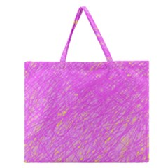 Pink Pattern Zipper Large Tote Bag by Valentinaart