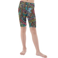 Colorful Hippie Flowers Pattern, Zz0103 Kid s Mid Length Swim Shorts by Zandiepants