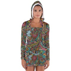 Colorful Hippie Flowers Pattern, Zz0103 Women s Long Sleeve Hooded T Shirt by Zandiepants