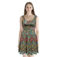Colorful Hippie Flowers Pattern, Zz0103 Split Back Mini Dress