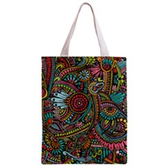 Colorful Hippie Flowers Pattern, Zz0103 Zipper Classic Tote Bag by Zandiepants