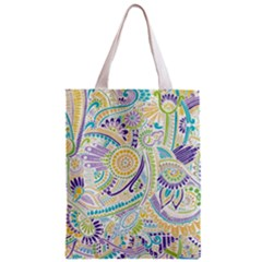 Purple, Green, Yellow Hippie Flowers Pattern, Zz0104 Zipper Classic Tote Bag by Zandiepants