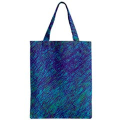 Blue Pattern Zipper Classic Tote Bag by Valentinaart