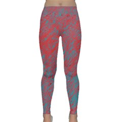 Red And Blue Pattern Yoga Leggings  by Valentinaart