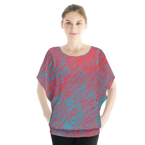 Red And Blue Pattern Batwing Chiffon Blouse by Valentinaart