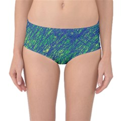 Green Pattern Mid-waist Bikini Bottoms by Valentinaart