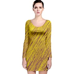 Yellow Van Gogh Pattern Long Sleeve Velvet Bodycon Dress
