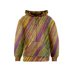 Yellow, Purple And Green Van Gogh Pattern Kids  Zipper Hoodie by Valentinaart