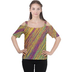 Yellow, Purple And Green Van Gogh Pattern Women s Cutout Shoulder Tee by Valentinaart