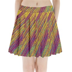 Yellow, Purple And Green Van Gogh Pattern Pleated Mini Mesh Skirt by Valentinaart