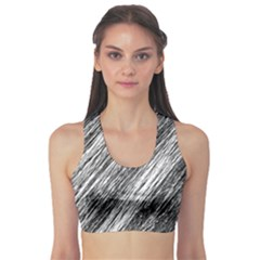 Black And White Decorative Pattern Sports Bra by Valentinaart