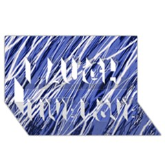 Blue Elegant Pattern Laugh Live Love 3d Greeting Card (8x4)