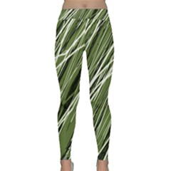 Green Decorative Pattern Yoga Leggings  by Valentinaart
