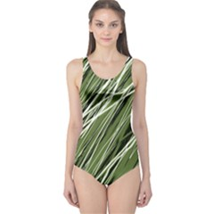 Green Decorative Pattern One Piece Swimsuit by Valentinaart