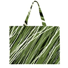 Green Decorative Pattern Zipper Large Tote Bag by Valentinaart