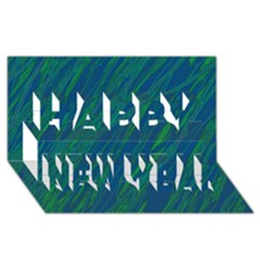 Green Pattern Happy New Year 3d Greeting Card (8x4)