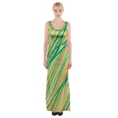 Green And Orange Pattern Maxi Thigh Split Dress by Valentinaart