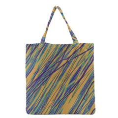 Blue And Yellow Van Gogh Pattern Grocery Tote Bag by Valentinaart