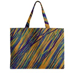 Blue And Yellow Van Gogh Pattern Zipper Mini Tote Bag by Valentinaart