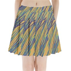 Blue And Yellow Van Gogh Pattern Pleated Mini Mesh Skirt by Valentinaart