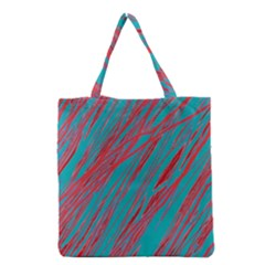 Red And Blue Pattern Grocery Tote Bag by Valentinaart