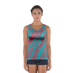 Red And Blue Pattern Women s Sport Tank Top  by Valentinaart