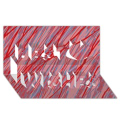 Pink And Red Decorative Pattern Best Wish 3d Greeting Card (8x4)