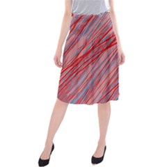 Pink And Red Decorative Pattern Midi Beach Skirt by Valentinaart