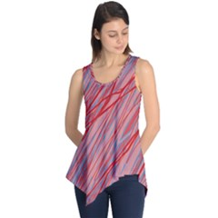Pink And Red Decorative Pattern Sleeveless Tunic