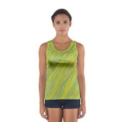 Green And Yellow Van Gogh Pattern Women s Sport Tank Top  by Valentinaart