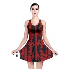 Red, Black And White Decorative Abstraction Reversible Skater Dress by Valentinaart