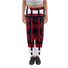 Red, Black And White Decorative Abstraction Women s Jogger Sweatpants by Valentinaart