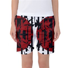 Red, Black And White Decorative Abstraction Women s Basketball Shorts by Valentinaart