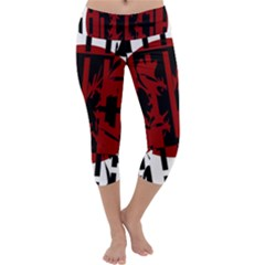 Red, Black And White Decorative Abstraction Capri Yoga Leggings by Valentinaart