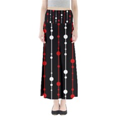 Red Black And White Pattern Maxi Skirts by Valentinaart
