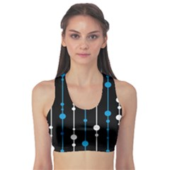 Blue, White And Black Pattern Sports Bra by Valentinaart