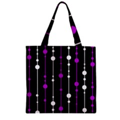 Purple, Black And White Pattern Zipper Grocery Tote Bag by Valentinaart