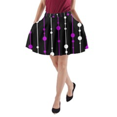 Purple, Black And White Pattern A Line Pocket Skirt by Valentinaart