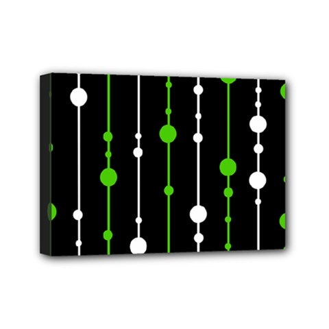 Green, White And Black Pattern Mini Canvas 7  X 5  by Valentinaart