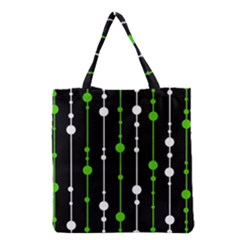 Green, White And Black Pattern Grocery Tote Bag by Valentinaart