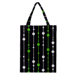 Green, White And Black Pattern Classic Tote Bag by Valentinaart