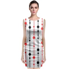 Red, Black And White Pattern Classic Sleeveless Midi Dress by Valentinaart