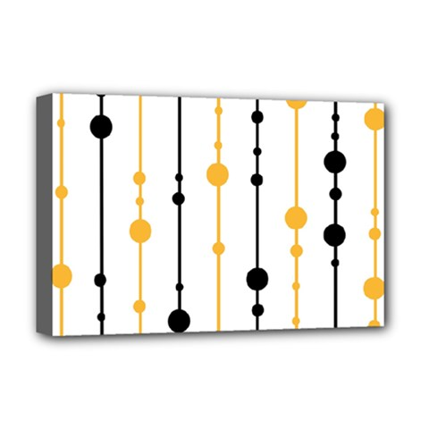 Yellow, Black And White Pattern Deluxe Canvas 18  X 12