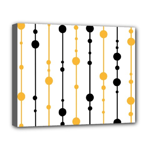 Yellow, Black And White Pattern Deluxe Canvas 20  X 16   by Valentinaart