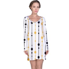 Yellow, Black And White Pattern Long Sleeve Nightdress by Valentinaart