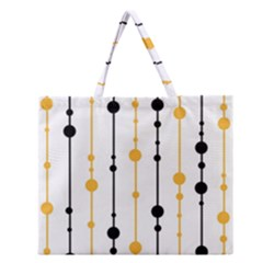 Yellow, Black And White Pattern Zipper Large Tote Bag by Valentinaart