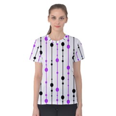 Purple, White And Black Pattern Women s Cotton Tee by Valentinaart